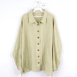 Yasuko Kurisaka Lagenlook Tunic Shirt Jacket Green